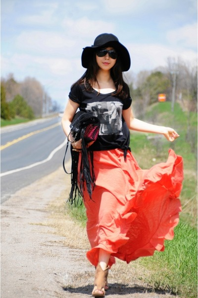 black Chanel bag - black Bebe hat - carrot orange free people shirt