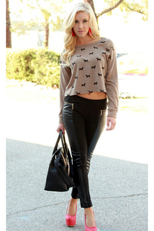 sweater - leggings - bag - pumps