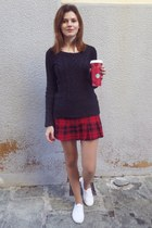 black H&M sweater - red JELOLINE skirt - white Shana sneakers