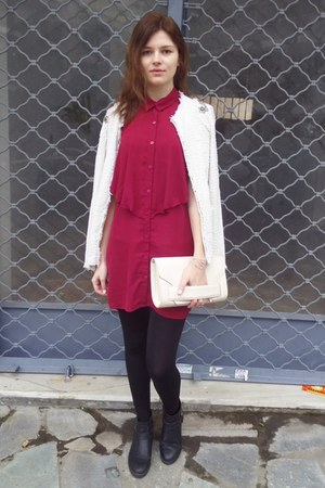 ruby red H&M shirt - black Tally Weijl boots - light pink H&M bag
