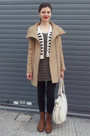 army green Bershka dress - tawny Tally Weijl boots - tan Bershka coat