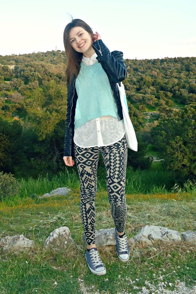 light blue Bershka blouse - beige BLANCO leggings - white pull&bear shirt