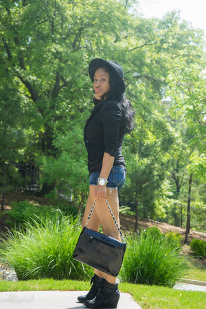 Express shoes - H&M blazer - Victorias Secret shirt - Express shorts