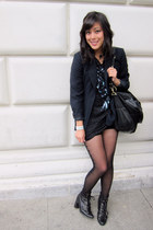 Nine West boots - thrifted vintage blazer - American Apparel tights