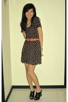 black Miss Selfridges dress - red unknown brand belt - black Steve Madden shoes