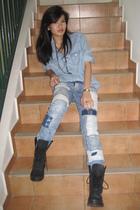 blue Zara top - blue H&M jeans - black Zara boots - black Forever 21 necklace