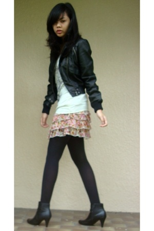 Topshop jacket - Kate Moss for Topshop top - pull&bear skirt - tights - boots