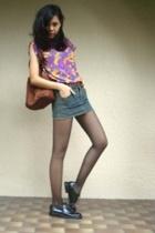 top - Topshop skirt - purse - shoes