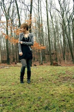 forever 21 sweater - H&M dress - Target stockings - Aldo boots - Forever21 neckl