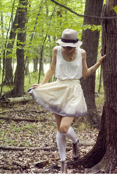 beige DIY skirt - white Forever 21 top - white H&M socks - gray H&M hat - brown