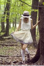 beige DIY skirt - white Forever 21 top - white H&M socks - gray H&M hat - brown