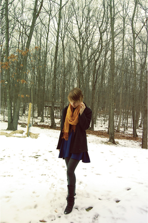 blue American Apparel dress - gray vintage blazer - black Aldo boots - gray Targ