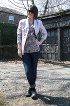 periwinkle neiman marcus blazer - Charlotte Russe top - dark gray oxfords loafer