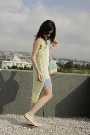 light yellow aryn k dress - sky blue Furla bag - neutral Jujule Lemonie flats