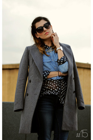 black polka dots Esprit blouse - heather gray boyfriend style Zara coat
