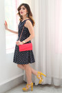 Navy-polka-dots-cortefiel-dress-hot-pink-charles-keith-bag