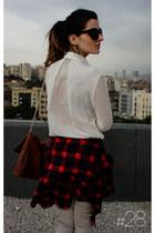 white sheer shirt Topshop blouse - silver skinny jeans Bershka jeans