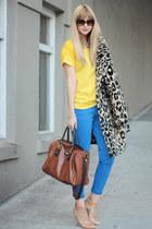 yellow Zara top - nude loeffler randall shoes - blue Zara pants