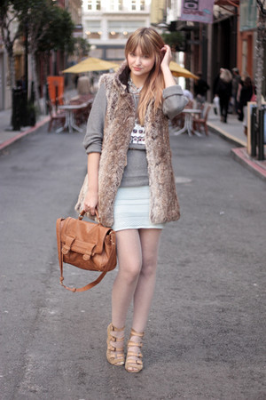 light blue American Apparel skirt - heather gray Zara sweater - peach H&M tights