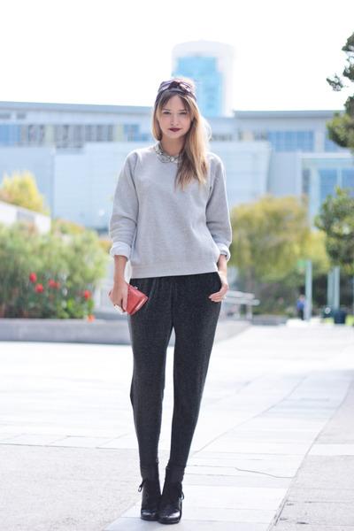 black See by Chloe shoes - black Zara pants - gray Hanes sweater