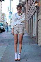 purple vintage blouse - purple H&M shorts - beige Aldo shoes