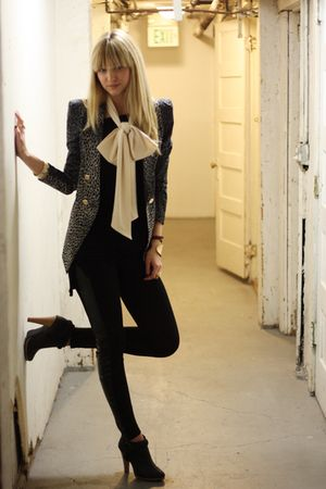 black nastygal leggings - black Alexander Wang dress - blue modcloth blazer