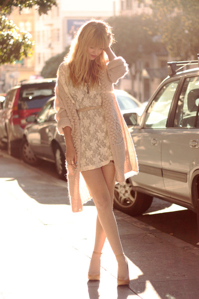 beige shoes - white dress - pink sweater