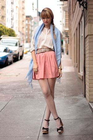 pink American Apparel skirt - black modcloth shoes
