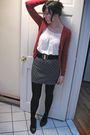 Red-uniqlo-cardigan-gray-urban-outfitters-skirt-white-hollister-top-black-