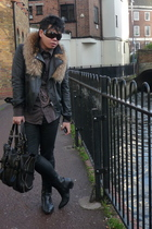 black H&M jacket - brown jasper conran shirt - black H&M jeans - black red or de