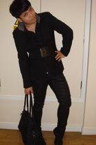 black Topman jacket - black Guide of London shirt - black H&M pants - black Topm