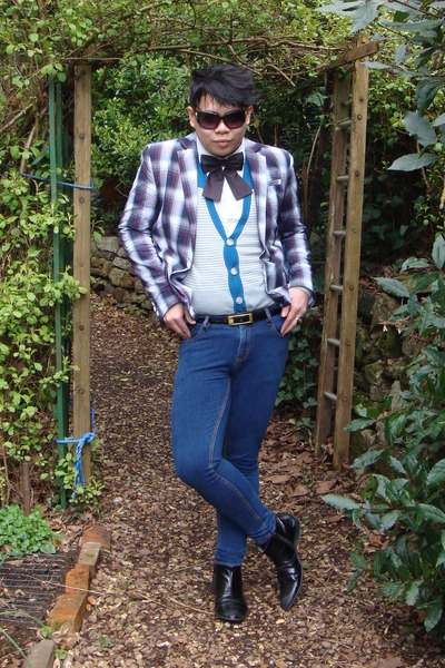 gray River Island jacket - white H&M shirt - blue Topman jeans - black River Isl