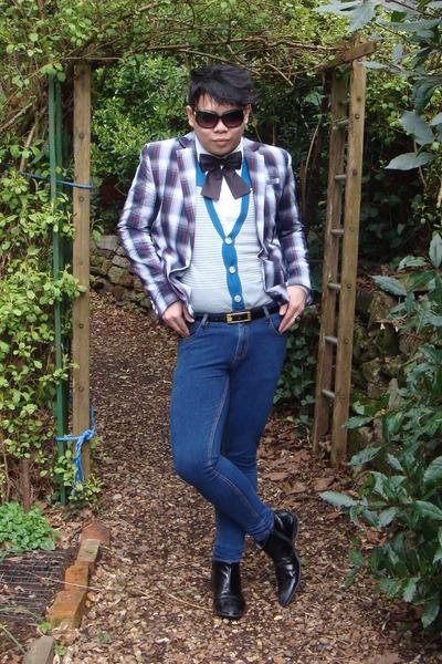 gray River Island jacket - white H&M shirt - blue Topman jeans - black River Isl