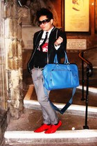 blue jasper conran purse - red Topman shoes - black All Saints jacket