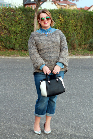blue c&a jeans - blue H&M shirt - black Zara bag - blue Zara necklace