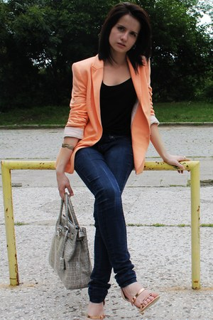 light orange cotton Zara blazer - navy denim Mango jeans