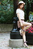 light pink floral shorts - white vintage hat - black quilted bag Chanel bag