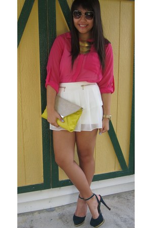hot pink H&M blouse - white Zara shorts - dark green Charlotte Russe heels
