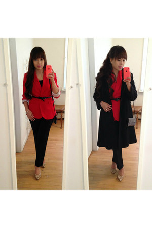 black tailored rothschild coat - red Chaus blazer - black Jaleh top - Roxy pumps