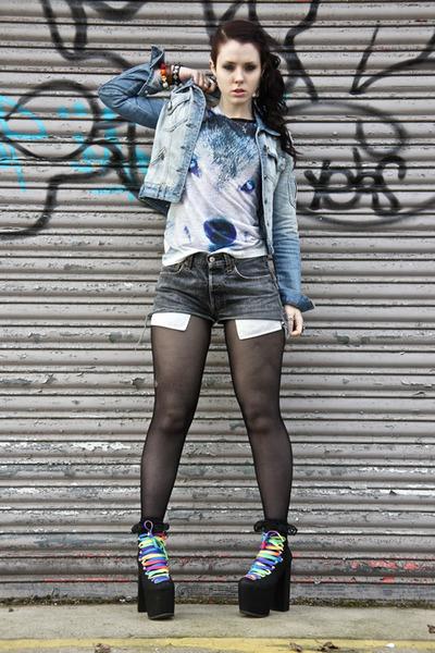 wolf Primark t-shirt - Nasty Gal boots - denim Republic jacket
