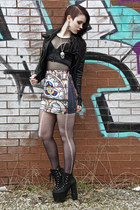 cathedral Black Milk skirt - platform heeled Nasty Gal boots