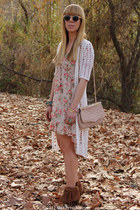 floral Forever 21 dress - showdown fringe Bakers boots - Aldo bag