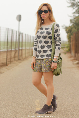 heart print Mossimo sweater - ankle boots sam edelman boots
