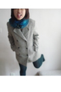 Gray-blazer-blue-scarf-green-stockings-brown-shoes