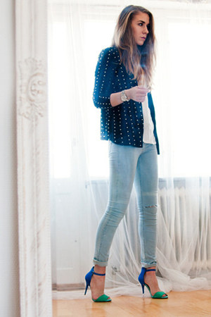 studded Choies blazer - light denim Cheap Monday jeans - Michael Kors watch
