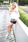 Crimson-faux-leather-shorts-white-mesh-apparel-after-dark-top