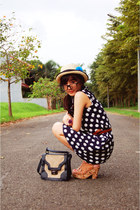 tan Abacus wedges - navy moms dress - nude hat - dark gray pull&bear bag