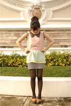 pink cropped top - aquamarine Gaudi top - light yellow Gaudi top