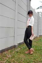 light pink Dorothy Perkins bag - forest green harem Zara pants - salmon Ciel nec