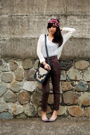 ivory netted wool random brand sweater - tan satchel pull&bear bag